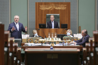 Prime Minister Scott Morrison and Opposition Leader Anthony Albanese during Question Time on Thursday.