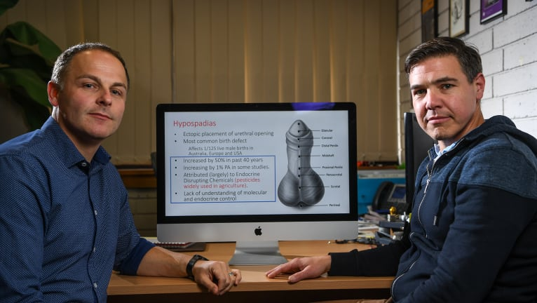Lecturer Mark Green and Associate Professor Andrew Pask  think chemicals in plastics may be linked to shrinking penis size and penis birth defects.