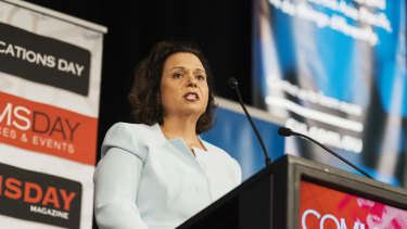 Labor communications spokeswoman Michelle Rowland announces Labor's NBN policy on Tuesday.