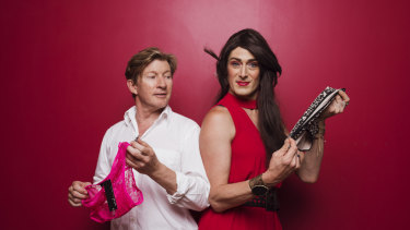 """""""Nothing Says I love you like a clean pair of undies"""": Actor David Wenham and Wayside Chapel visitor Eden McGuire show off some of the new underwear that has been donated as part of its Valentine's Day appeal."""