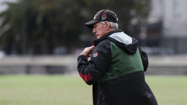 Master coach: Wayne Bennett oversees Souths training on Thursday.