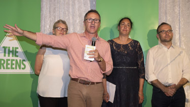 Senator Janet Rice, Greens leader Dr Richard Di Natale, Greens candidate for Batman Alex Bhathal (centre) and Deputy Leader of the Australian Greens Adam Bandt (right) concede defeat in Batman.
