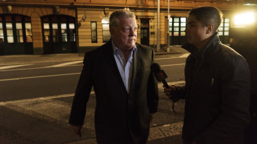 Decision time: Phil Gould, Penrith's general manager of football, arrives for an event at Alpha restaurant on Monday night.