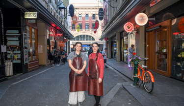 Staff from the Tulip Coffee on Degraves Street, Lily Taubert-Gallagher and Veronica Bella.