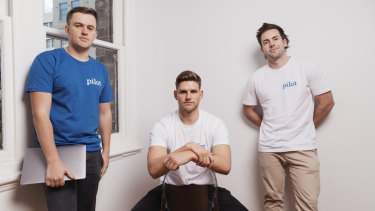 From left: Tim Doyle, Benny Kleist and Charlie Gearside, founders of mens' health startup Pilot.
