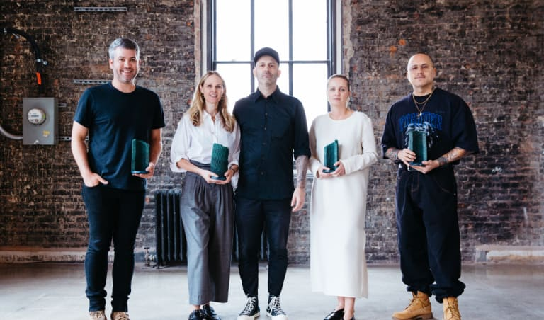 The four finalists for the International Woolmark Prize announced in New York on Thursday, July 12 (from left): Brandon Maxwell (USA), Nicole and Michael Colovos of Colovos (USA), Marina Afonina of Albus Lumen (Australia) and Willy Chavara (USA).
