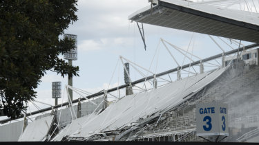 The football stadium being demolished.