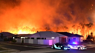 The Peregian Springs bushfire on the Sunshine Coast on Monday where several homes were destroyed.