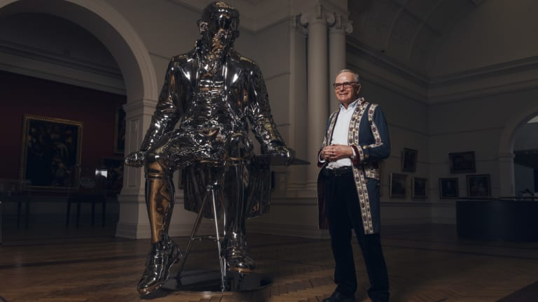 Captain Cook enthusiast Donald Heussler, pictured next to a sculpture of Captain Cook entitled The English Channel by New Zealand artist Michael Parekowhai at the Art Gallery of NSW