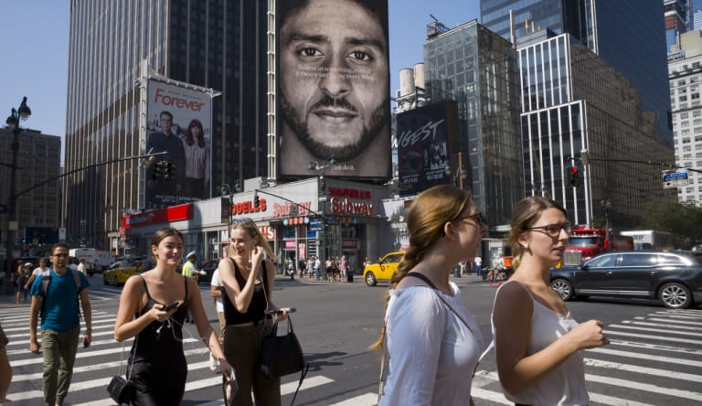 A New York Nike advertisement featuring Colin Kaepernick.