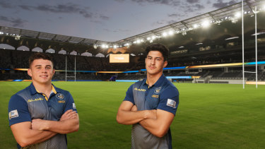Home: Eels players Reed Mahoney and Dylan Brown at Bankwest Stadium.