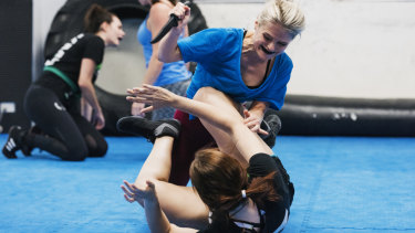 A self-defence class at Krav Maga Defence Institute, where women's enrolment has surged.