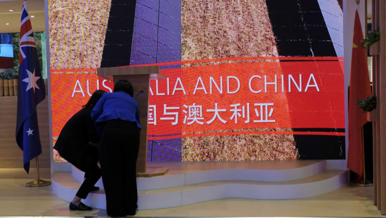 Staff at the Australia National Pavillion getting ready for vistors at the China International Import Expo.