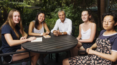 Professor Simon Haines, chief executive of the Ramsay Centre for Western Civilisation, with summer program students (from left) Scarlett Green, Helga Tong, Sophie Jackson and Winnie Li.