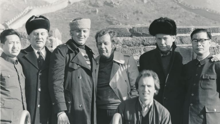 At the Great Wall of China, in 1979, from left: Chang Ching Ping, The Age Special Projects manager Jack Beverley, foreing editor Cameron Forbes, Creighton Burns, Michael Richardson, The Age editor Michael Davie, and Shi Chengxun.
