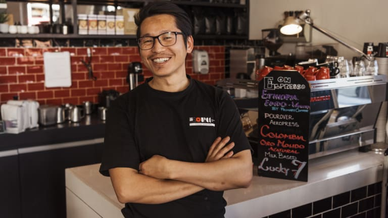 Barista BJ Rai from The Source Espresso Bar in Mosman.