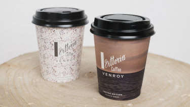 The coffee cups designed by Venroy for the Vittoria Fashion Series for Fashion Week.