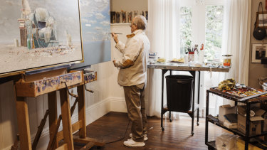 Storrier working in his Bowral studio.