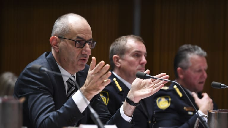 Secretary of the Department of Home Affairs Michael Pezzullo speaks during a Senate Inquiry in September.