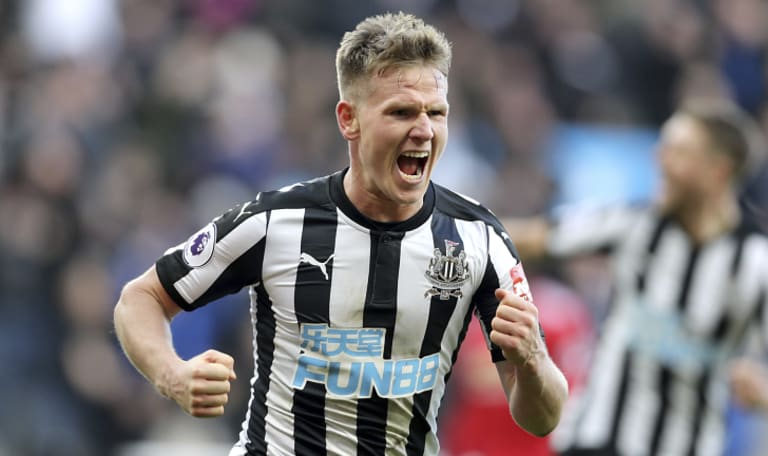 Newcastle United's Matt Ritchie celebrates scoring the winner to beat Manchester United at St James' Park on Sunday.