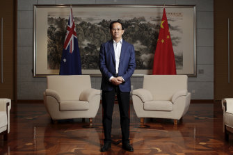 China's ambassador to Australia, Cheng Jingye, at his Canberra residence in April.