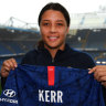 Sam Kerr at Chelsea's home ground, Stamford Bridge in London.