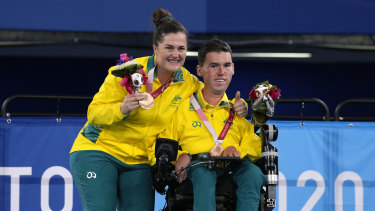 Daniel Michel and ramp assistant Ash McClure after winning Australia's first boccia medals in 25 years.
