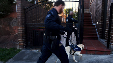 AFP officers from the canine unit enter a property in Earlwood owned by Arthur Alex.