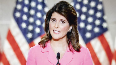 """Former UN ambassador Nikki Haley: """"In much of the Democratic Party, it's now fashionable to say that America is racist. That is a lie."""""""