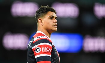 Keep your head up: Roosters teammates have rallied around Latrell Mitchell after his Origin axing.