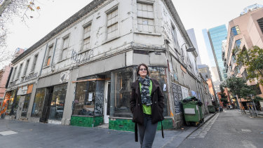 CBD resident Nicola Smith in front of the Job Warehouse, to be turned into a bar for 957 patrons.
