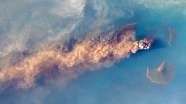 Photo taken by astronaut from the International Space Station shows Anak Krakatoa erupting volcanic ash.