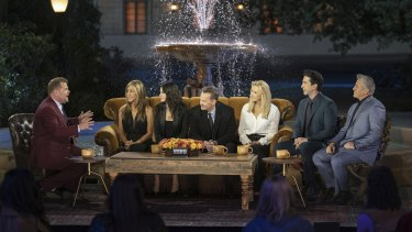 James Corden with Jennifer Aniston, Courteney Cox, Matthew Perry, Lisa Kudrow, David Schwimmer and Matt LeBlanc at the filming of Friends: The Reunion.
