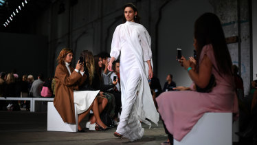Bianca Spender has formed a reputation at fashion week for her non-linear catwalks.