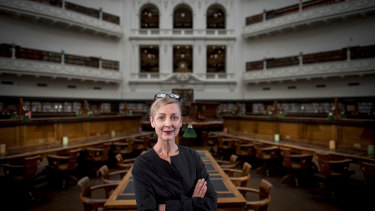 In the Dome, alone, for now: State Library of Victoria CEO Kate Torney.