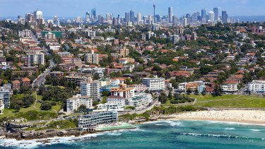 A view of Bondi Beach looking over the eastern suburbs and towards the CBD.