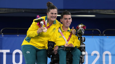 Daniel Michel and ramp assistant Ash McClure after winning Australia's first boccia medals in 25 years on Wednesday.