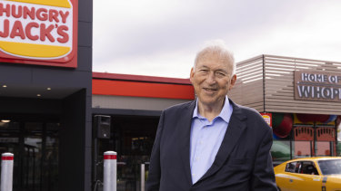 Hungry Jack's founder Jack Cowin at the company's first store in Innaloo, Perth.