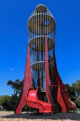 Beacon: the rocket shaped climbing apparatus at Central Gardens - aka Rocket Park - in Hawthorn.