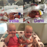 India and Dahli Greenhalgh are now thriving after being born more than three months premature.