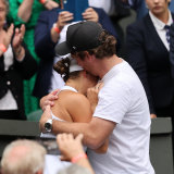 Ash Barty with boyfriend Garry Kissick after her Wimbledon win.