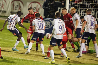 Abraham Majok pokes home the winner during a goalmouth scramble in injury time against Hume  City.