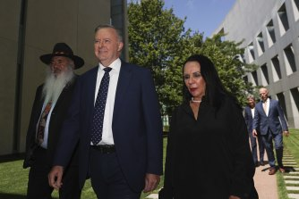Labor's Pat Dodson, Anthony Albanese and Linda Burney on their way to attend a ministerial statement to mark the anniversary of the National Apology to the Stolen Generations.