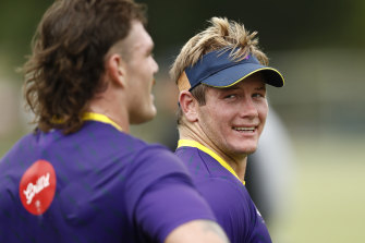 Harry Grant back at Storm training on Monday after a season at the Tigers.