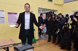 Irish Prime Minister Leo Varadkar casts his vote in Dublin on Saturday. Varadkar's Fine Gael party has ruled out a coalition with Sinn Fein.