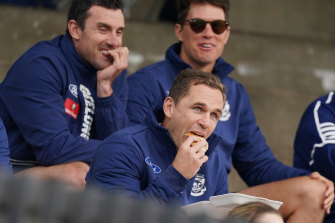 Hungry: Geelong captain Joel Selwood watches on during his side's Marsh Series match against Essendon in Colac.