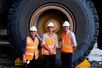 Nationals leader John Barilaro, Upper Hunter candidate David Layzell and Treasurer Dominic Perrottet at the Ravensworth coal mine.