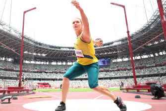 Dani Stevens competes in the women's discus throw qualifier in Tokyo on Saturday.