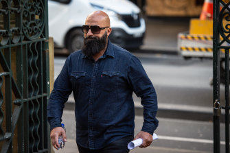 Alleged money launderer Adrian Metly, also known as Radwan Zraika, arriving at Sydney's Central Local Court.