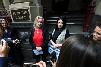 Ashlee Brown's mother Ashlee speaks outside the Supreme Court on Friday.